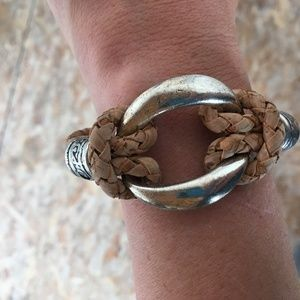 LEATHER CORD AND SILVER WOVEN CIRCLE BRACELET